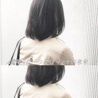 透ける暗髪。ダークグレーのミディアムヘア